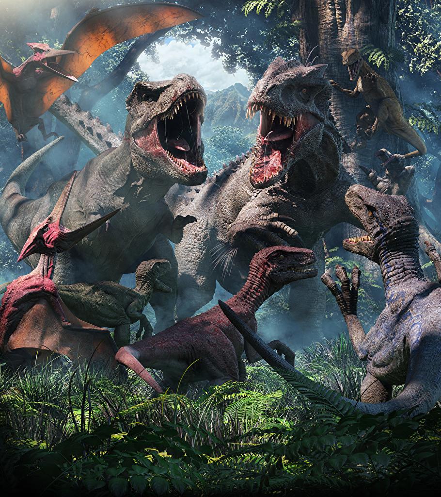 Фотография Тираннозавр рекс Динозавры 3D Графика Оскал Животные Древние животные  для мобильного телефона