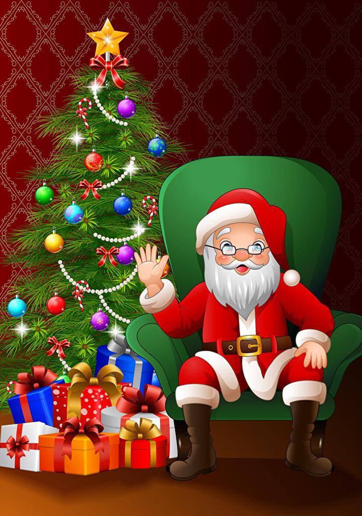 Картинка Рождество Санта-Клаус Новогодняя ёлка Подарки Шар рука Кресло Векторная графика  для мобильного телефона Новый год Елка Дед Мороз подарок подарков Руки Шарики