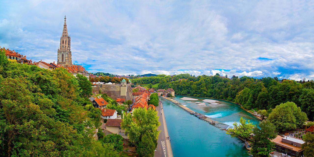Фотография Берн Швейцария речка Дома Города Деревья Реки Здания