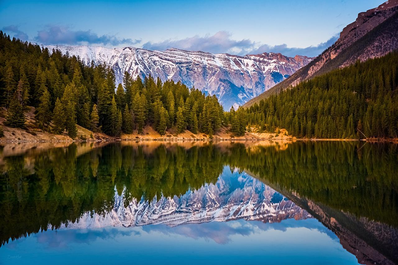 Обои для рабочего стола Канада гора Природа Леса Озеро Пейзаж Горы лес