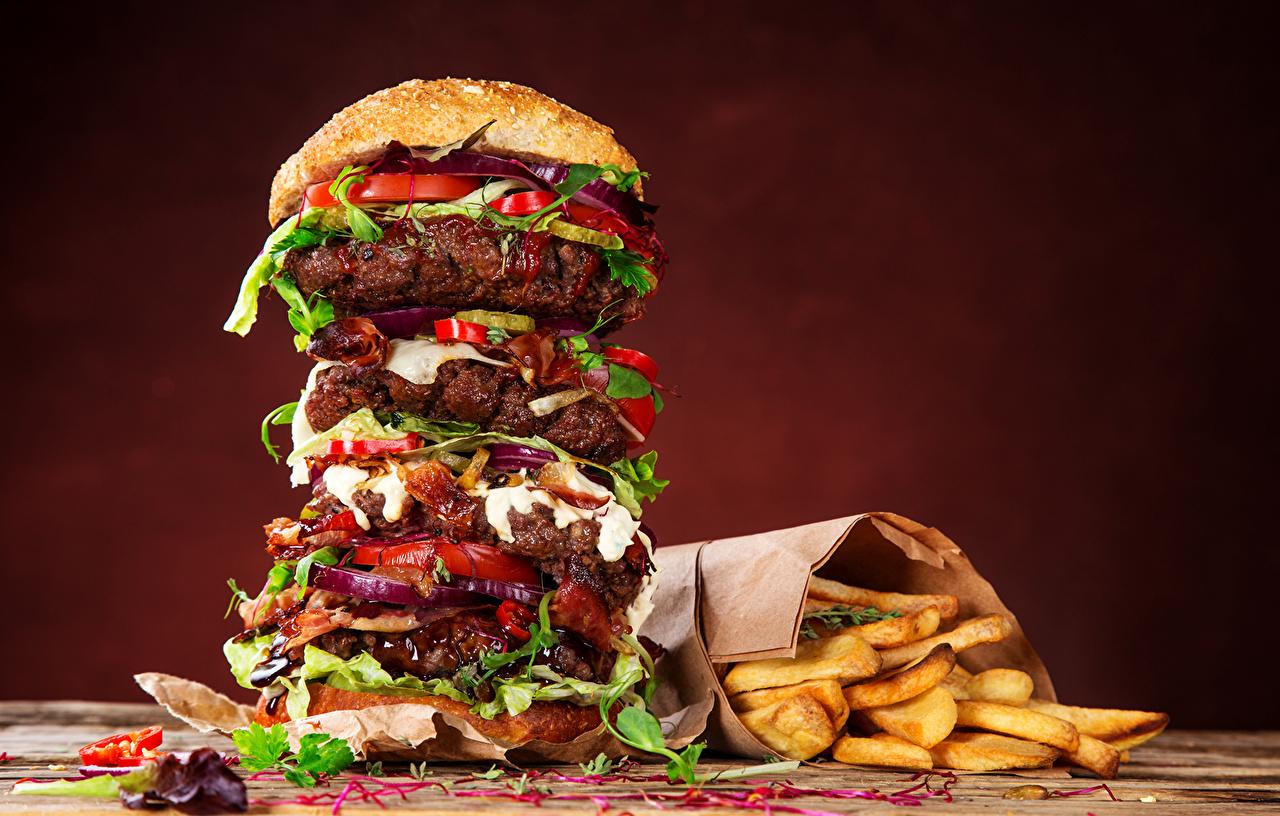 Картинки Гамбургер Картофель фри Булочки Фастфуд Пища Быстрое питание Еда Продукты питания