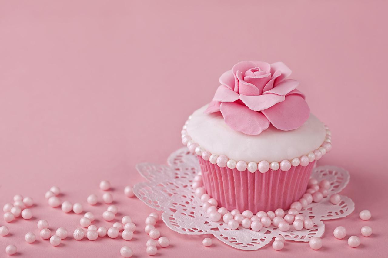 Картинки Жемчуг Розы розовых Капкейк кекс Еда Пирожное роза Розовый розовая розовые Пища Продукты питания