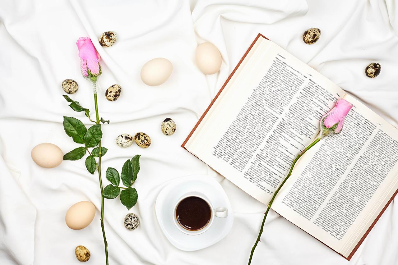 Обои для рабочего стола Пасха Яйца Розы Кофе Двое Розовый Цветы Чашка Книга Продукты питания яиц яйцо яйцами 2 два две роза вдвоем розовая розовые розовых цветок Еда Пища чашке книги