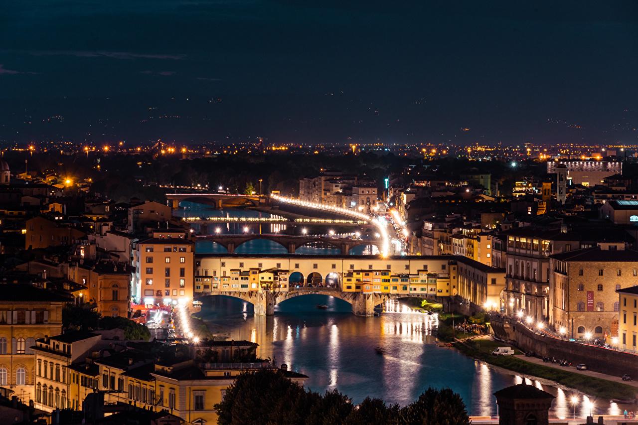 Картинка Флоренция Италия Arno River, Ponte Vecchio Мосты Ночь речка Города мост Реки река ночью в ночи Ночные город