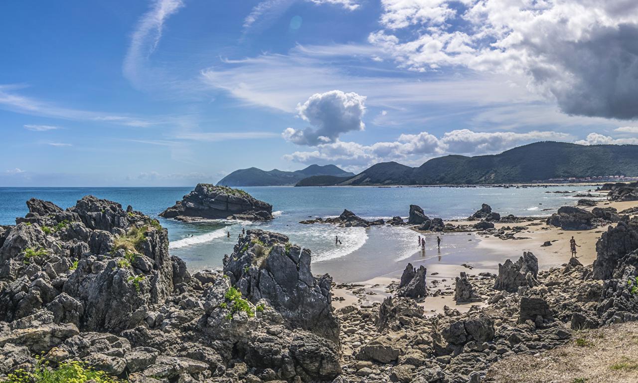 Фотографии Испания Cantabria Утес Природа Волны залива Побережье Скала скале скалы берег Залив заливы