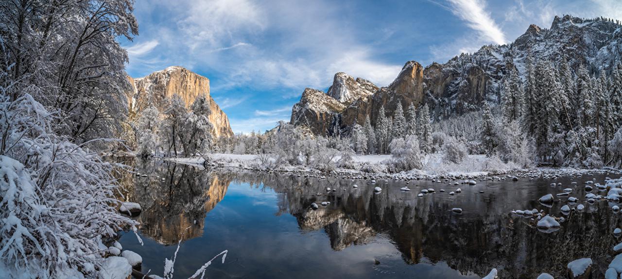 Обои для рабочего стола Йосемити калифорнии америка панорамная гора Скала зимние Природа парк Пейзаж дерева Калифорния США штаты Панорама Горы Зима Утес скале скалы Парки дерево Деревья деревьев
