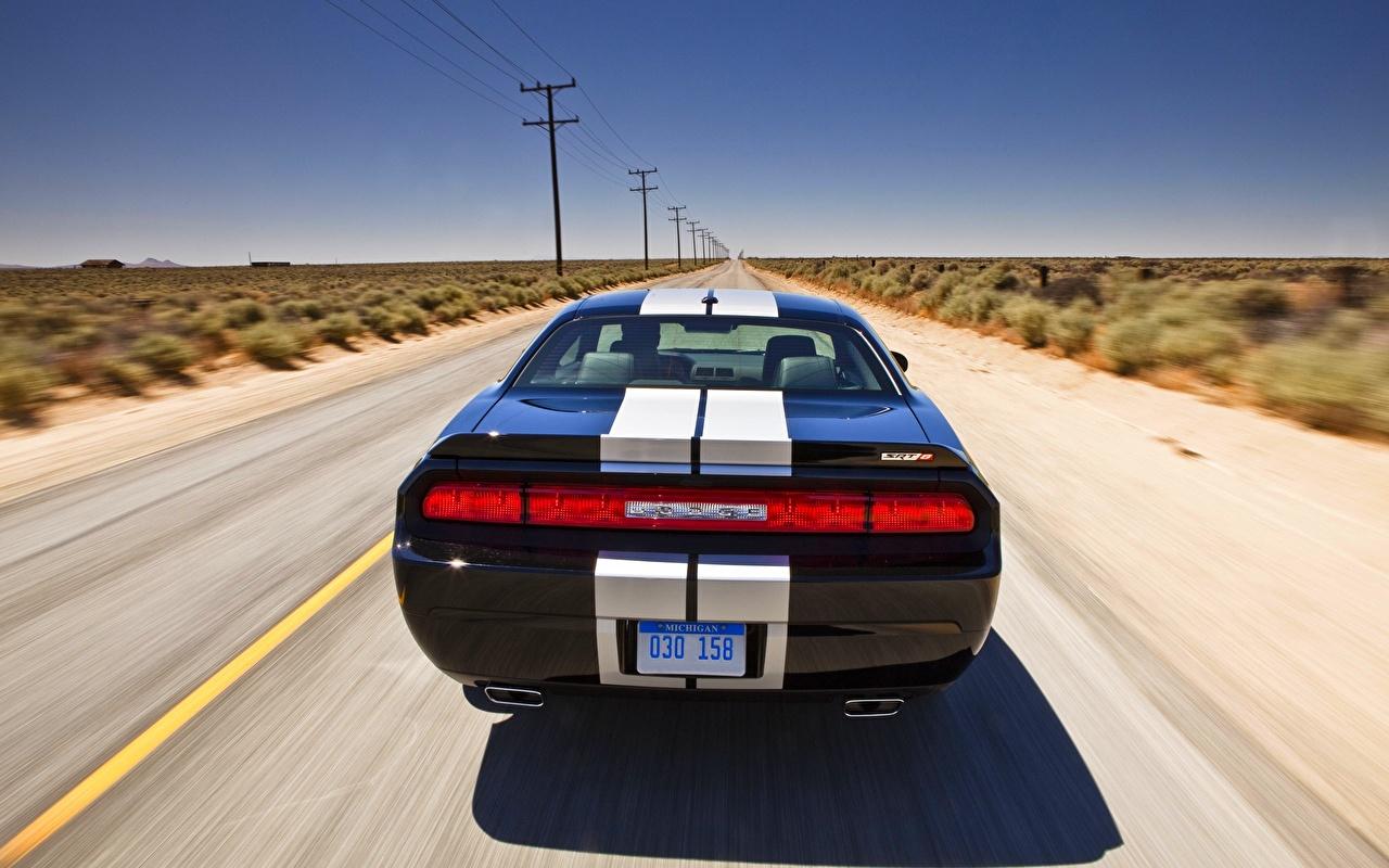 Картинка Додж challenger Дороги Сзади Полоски Горизонт Автомобили Dodge авто машины машина вид сзади полосатый полосатая горизонта автомобиль