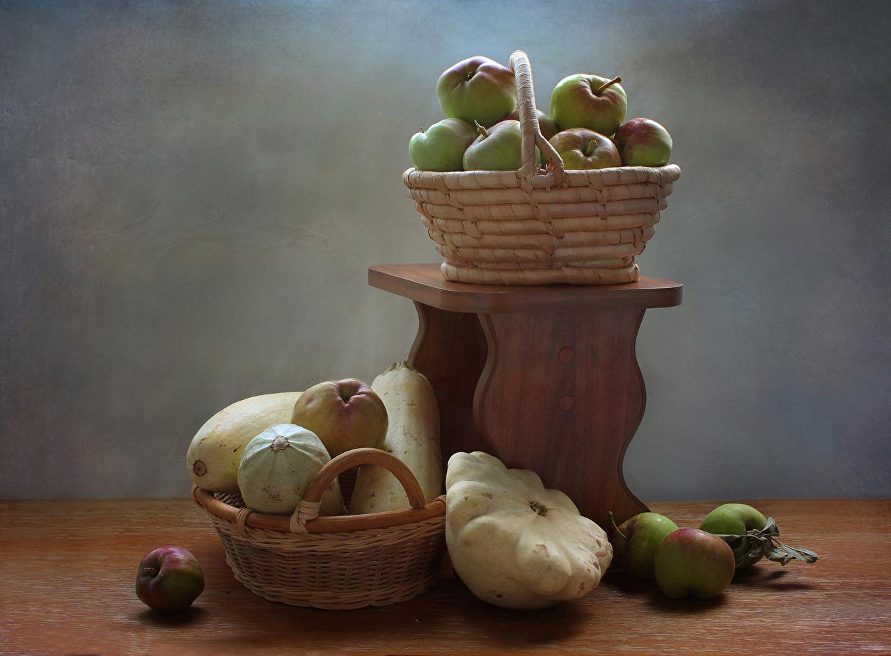 Фото Яблоки Корзина Овощи Продукты питания корзины Корзинка Еда Пища