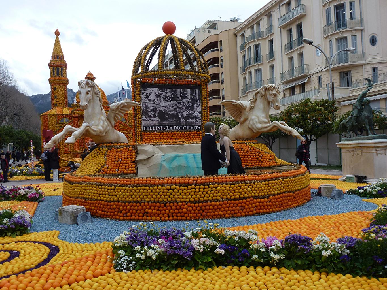 Фото Франция Menton Lemon Festival Парки Первоцвет Города Скульптуры Цитрусовые Дизайн Примула