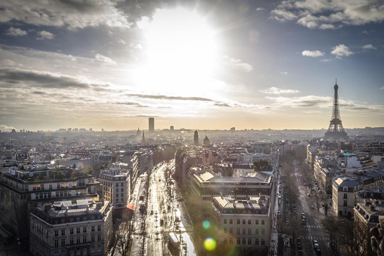 Картинки Париж Франция Небо Сверху горизонта город париже Горизонт Города