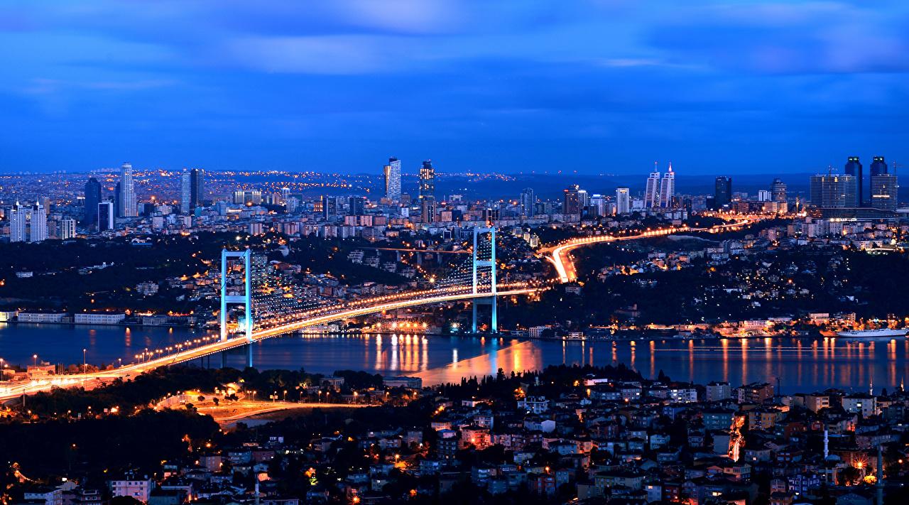 Картинка Стамбул Турция Мегаполис Мосты Ночные Дома Города Ночь Здания