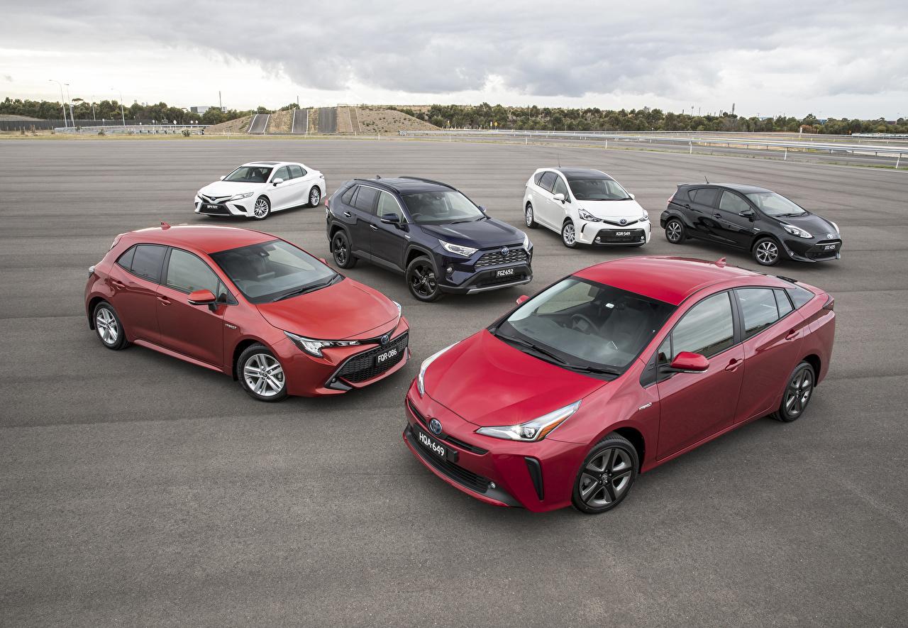 Фото Тойота Автомобили Много Toyota авто машины машина автомобиль