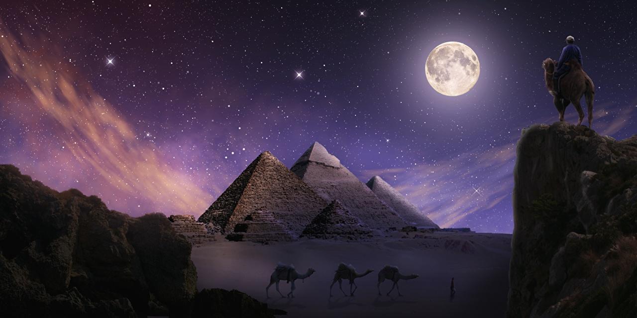Фото Верблюды Египет Giza Утес Пустыни Фантастика луной пирамиды ночью верблюд скалы скале Скала Фэнтези пустыня Луна луны Пирамида Ночь в ночи Ночные