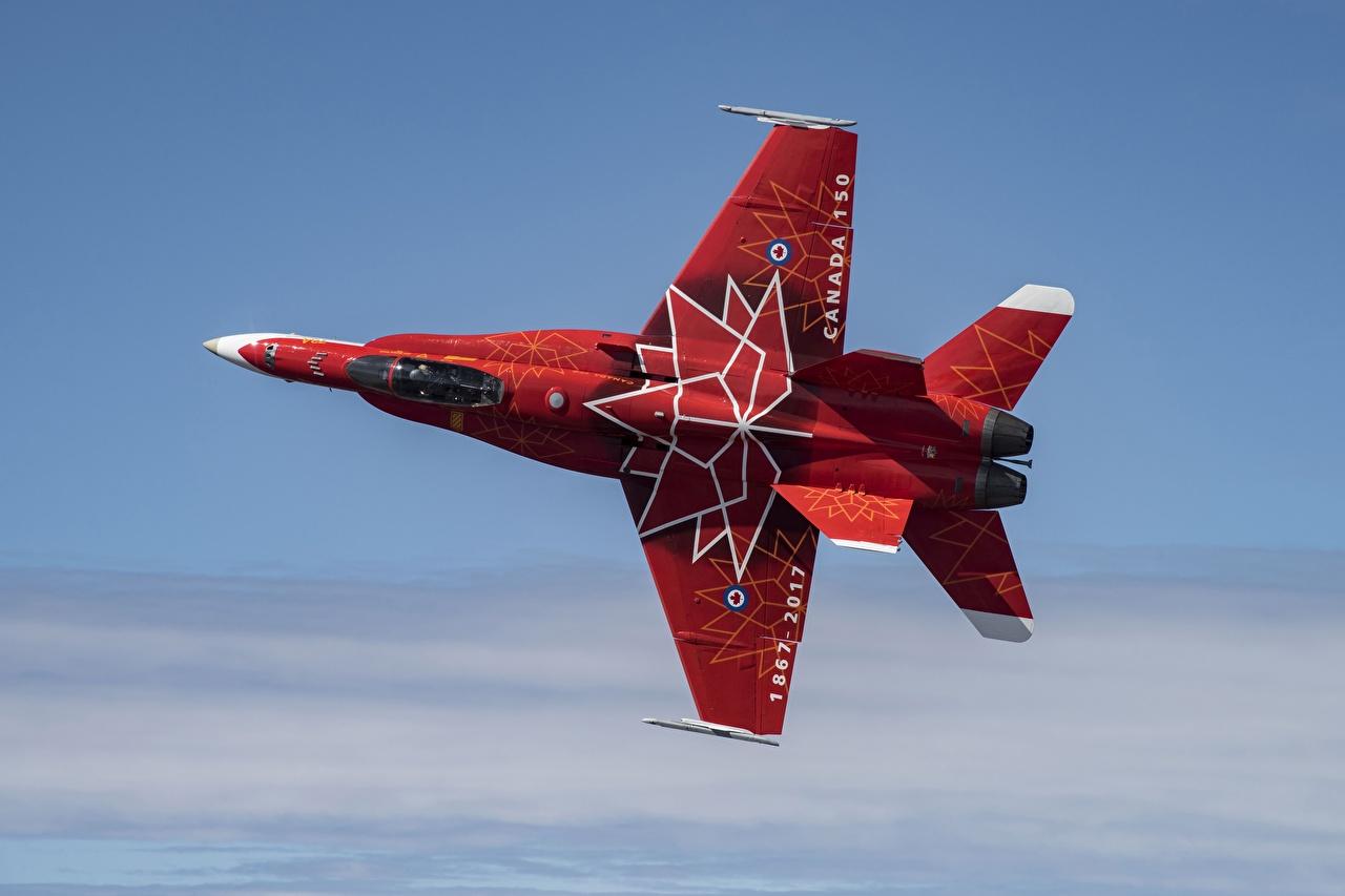 Картинки Истребители Самолеты CF-18 Красный Дизайн Авиация