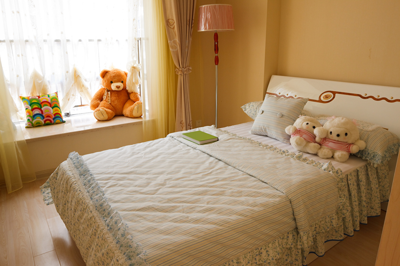 Картинка Детская комната Мишки Интерьер кровати игрушка дизайна Плюшевый мишка Кровать постель Игрушки Дизайн