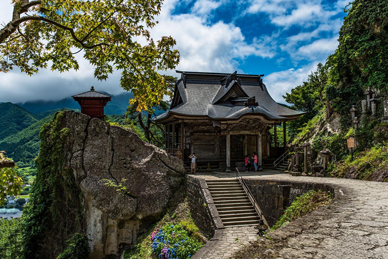 Фотографии Япония Tohoku гора Утес Природа храм Горы Скала скале скалы Храмы