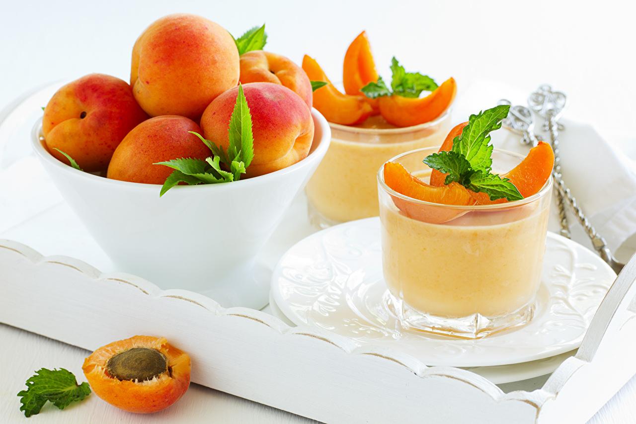 Обои для рабочего стола Персики стакане Еда Фрукты Сладости Стакан стакана Пища Продукты питания сладкая еда