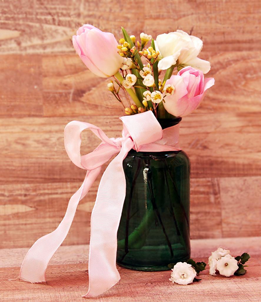 Картинка букет Тюльпаны цветок Ваза бантики  для мобильного телефона Букеты тюльпан Цветы вазе вазы бант Бантик