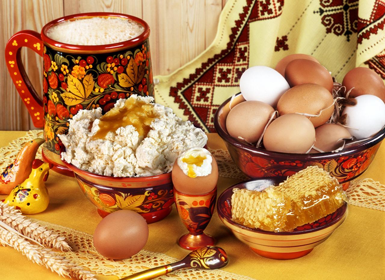 Фотография яйцо Мед Творог Миска Еда Натюрморт яиц Яйца яйцами Пища Продукты питания
