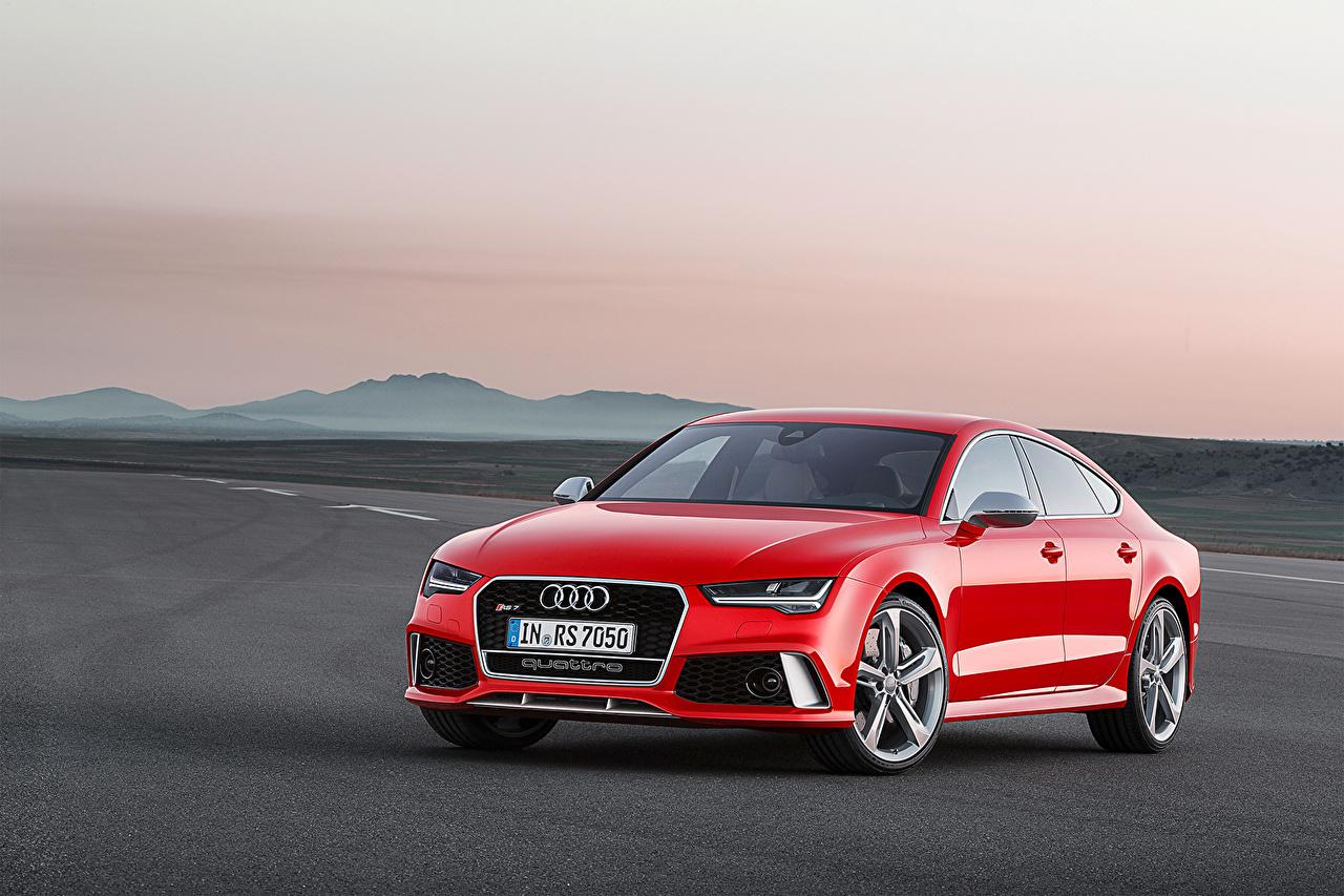 Фотография Ауди 2015 RS7 Sportback красных Металлик автомобиль Audi Красный красные красная авто машина машины Автомобили