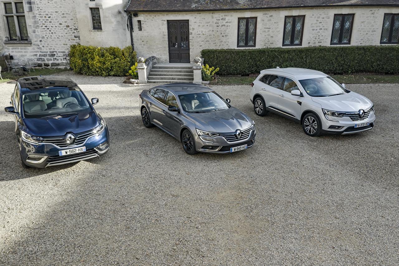 Картинки Renault Espace, Koleos, Talisman три автомобиль Рено авто Трое 3 машина машины втроем Автомобили