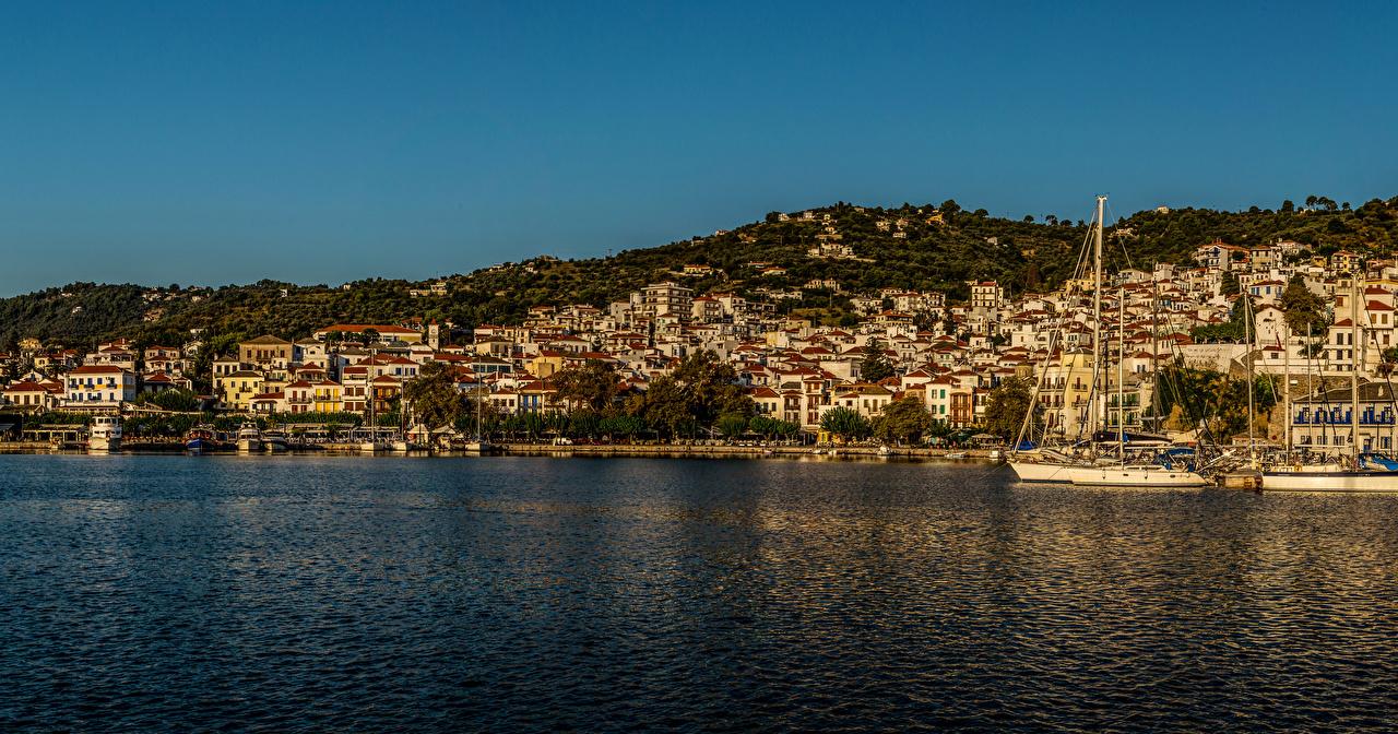 Картинки Греция Skopelos Море Причалы Побережье Дома Города берег Пирсы Здания