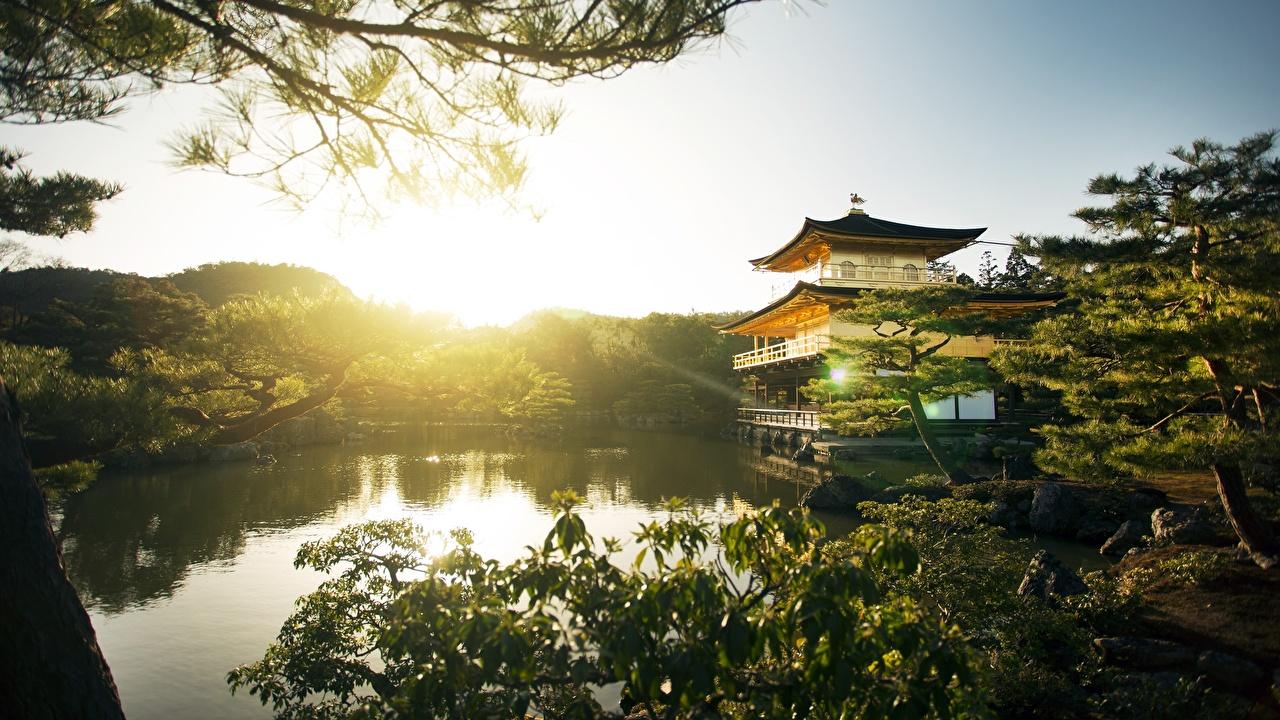 Картинка Киото Япония Kinkaku-JI Парки Рассветы и закаты Храмы город парк рассвет и закат храм Города