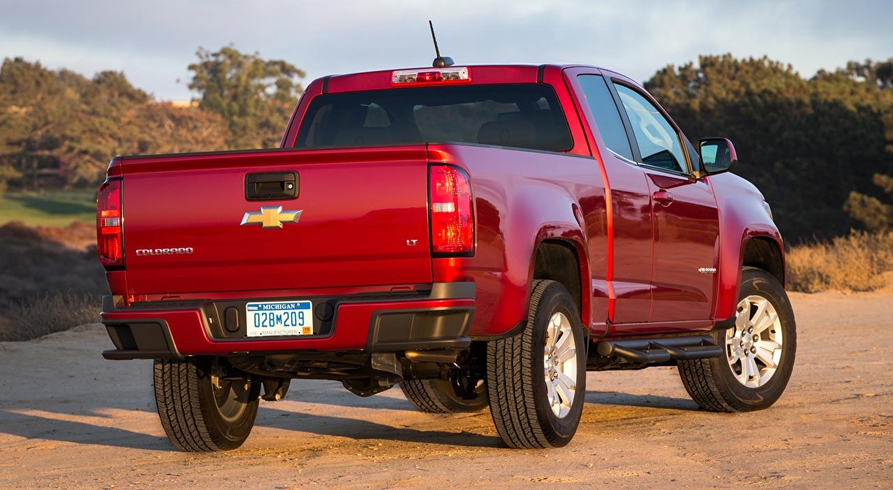 Обои для рабочего стола Шевроле Colorado, LT Extended Cab, 2014 Пикап кузов Красный машины вид сзади Chevrolet красная красные красных авто Сзади машина Автомобили автомобиль