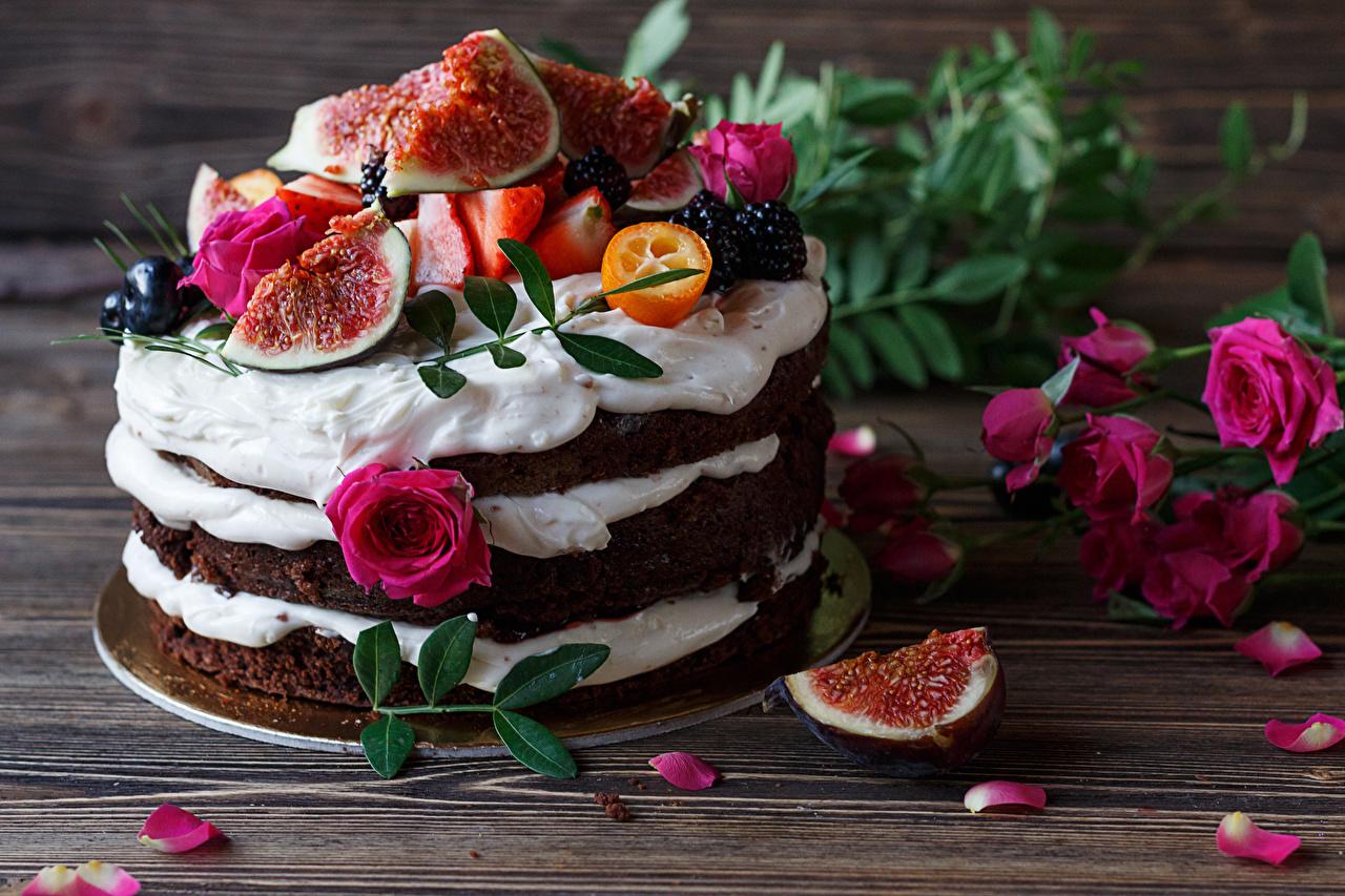 Обои для рабочего стола Розы Торты Инжир лепестков Продукты питания Сладости Дизайн роза Лепестки Еда Пища сладкая еда дизайна