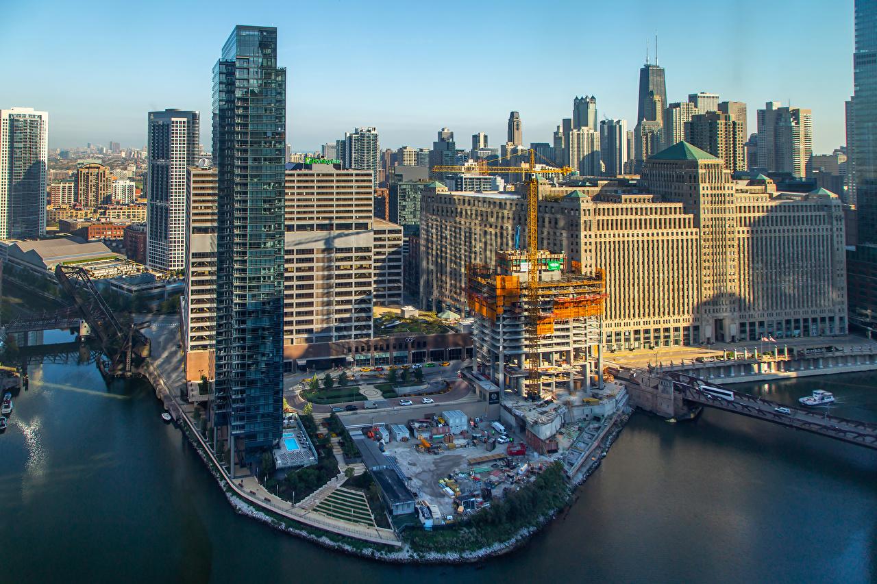 Обои для рабочего стола Чикаго город США Мосты Залив Небоскребы Города Здания штаты америка мост заливы залива Дома город