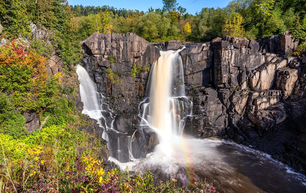 Фотография Канада Pigeon River High Falls скалы Природа Водопады Утес Скала скале