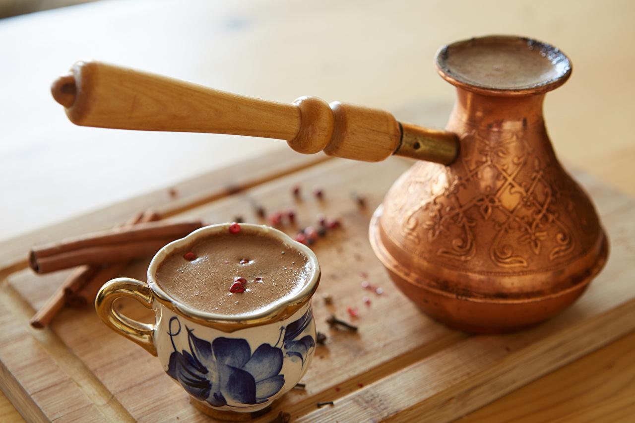 Картинка Еда Кофе Капучино Турка чашке Пища Продукты питания Чашка