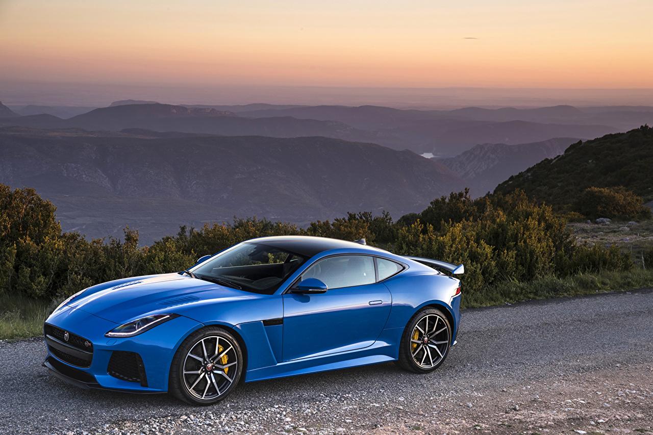 Фото Jaguar 2016 F-Type SVR Coupé Worldwide синяя машины Металлик Ягуар синих синие Синий авто машина автомобиль Автомобили