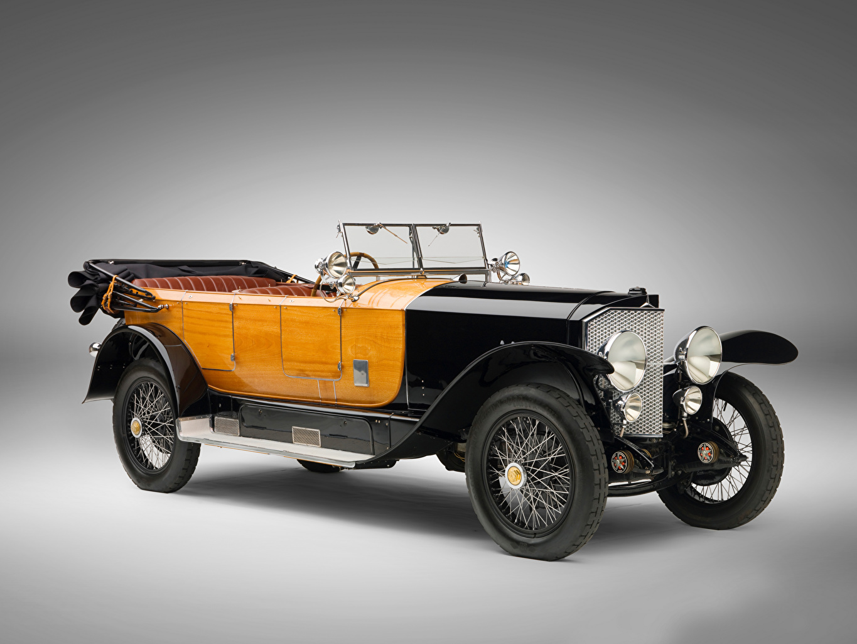 Фото Mercedes-Benz 28/95 HP Sport Phaeton, 1924 старинные Автомобили сером фоне Мерседес бенц Ретро винтаж авто машины машина автомобиль Серый фон
