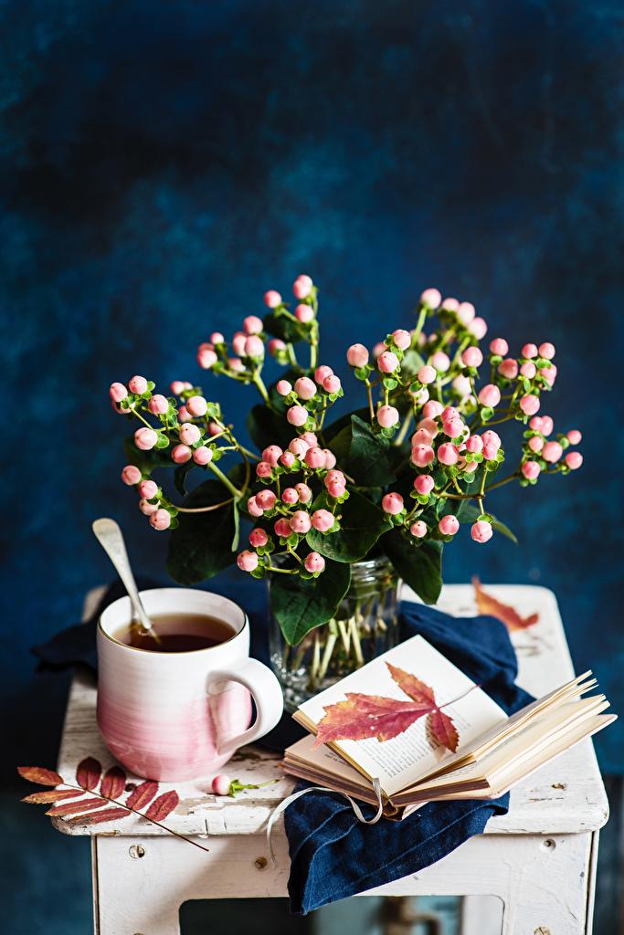 Обои Букеты Чай Чашка Книга Продукты питания Натюрморт Еда Пища