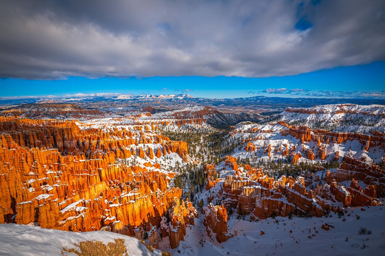 Обои для рабочего стола америка Bryce Canyon National Park, Utah, Юта, Юта, Юта, Юта ещё раз Юта Каньон Природа парк Пейзаж облачно США штаты каньона каньоны Парки Облака облако