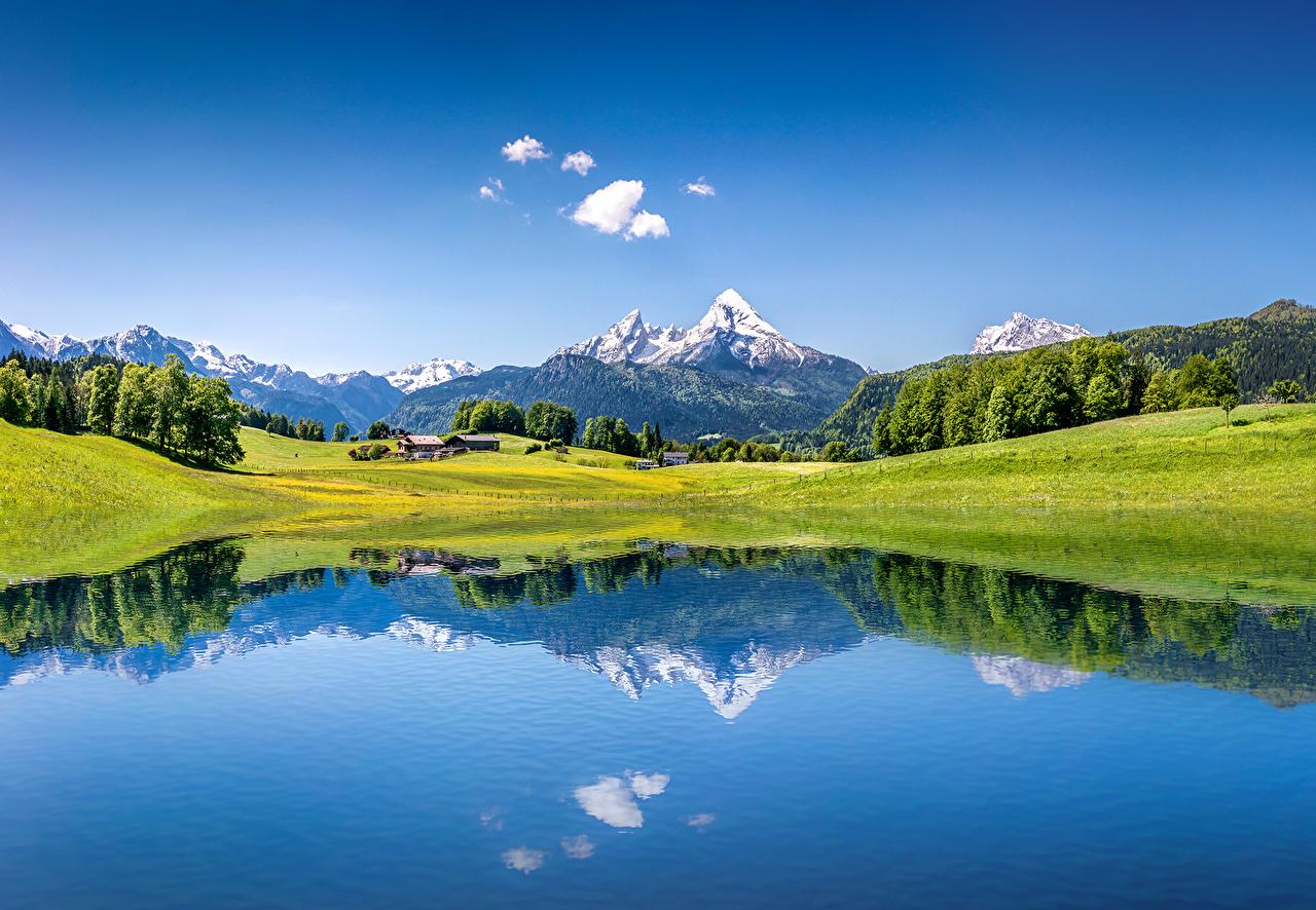 Фотография альп Швейцария Горы Природа Небо Луга Озеро Пейзаж Альпы гора