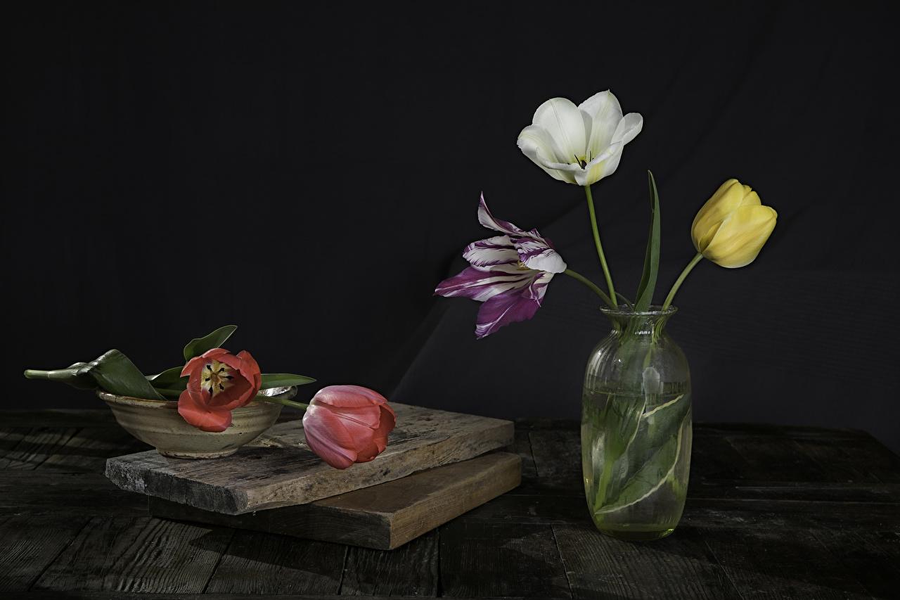 Фотография Разноцветные тюльпан Цветы вазы Доски Тюльпаны цветок вазе Ваза