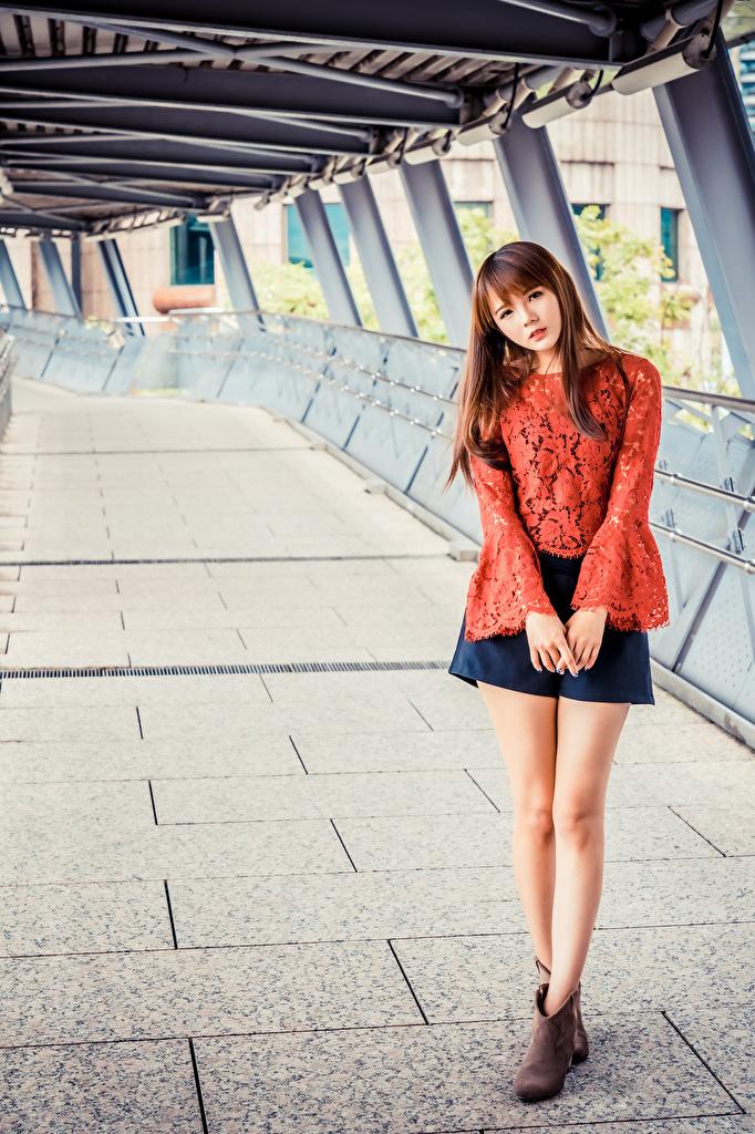 Фото Юбка шатенки Поза Блузка Девушки азиатки смотрят  для мобильного телефона юбке юбки Шатенка позирует девушка молодая женщина молодые женщины Азиаты азиатка Взгляд смотрит