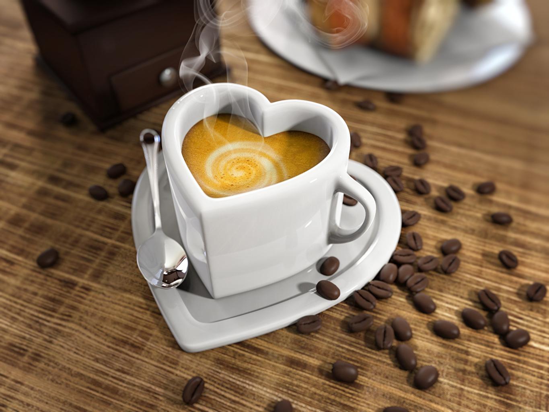 Фотографии серце Кофе Капучино зерно Чашка Ложка Продукты питания Сердце сердца сердечко Зерна Еда Пища ложки чашке