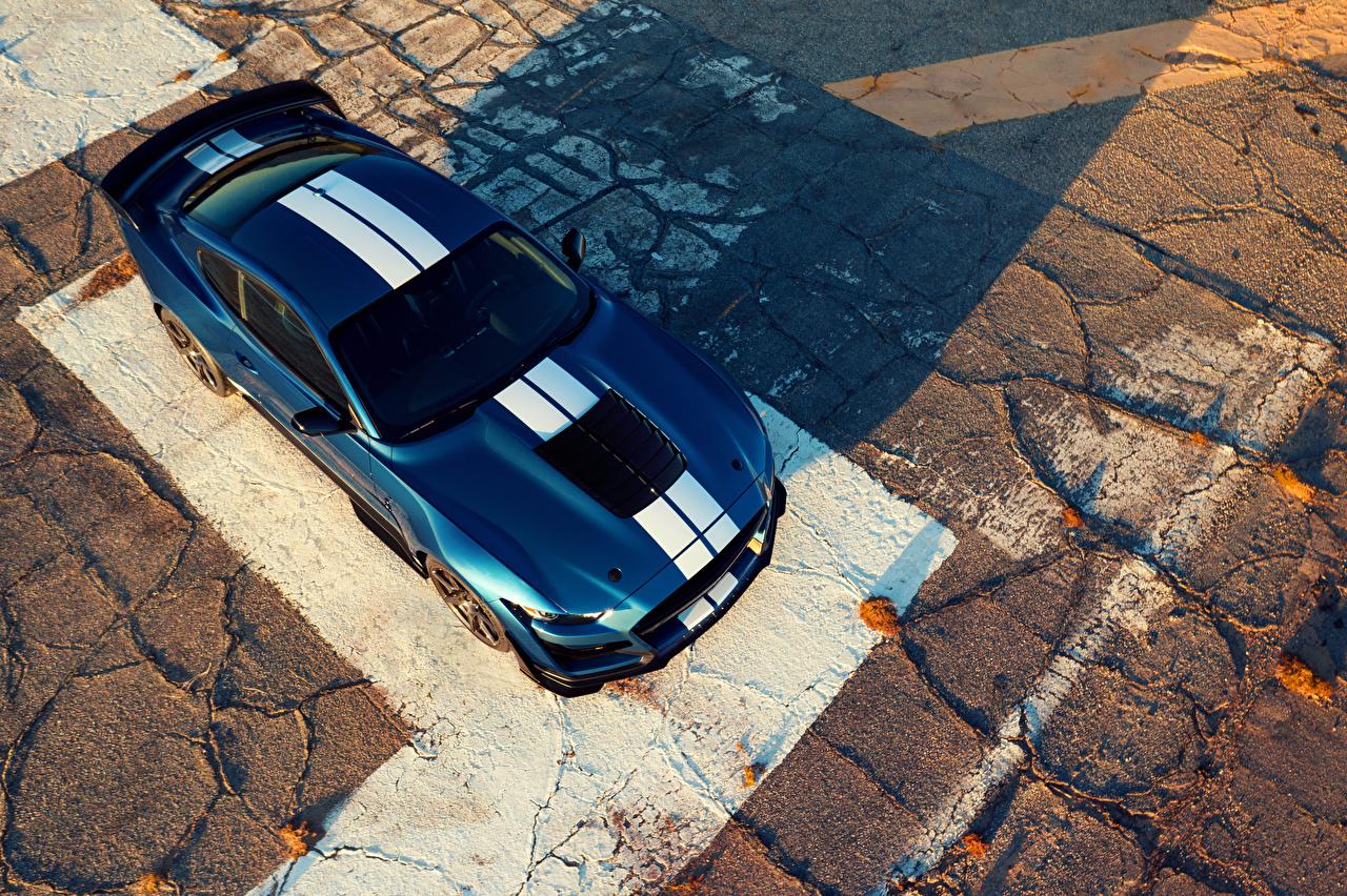 Фотографии Ford 2019 Mustang Shelby GT500 синих машины Сверху Форд Синий синие синяя авто машина автомобиль Автомобили