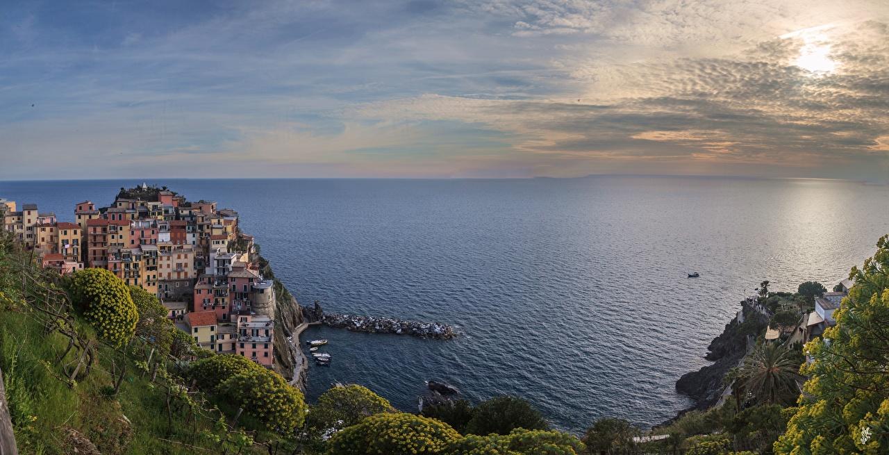 Фото Лигурия Чинкве-Терре парк Италия Море Горизонт Города горизонта город