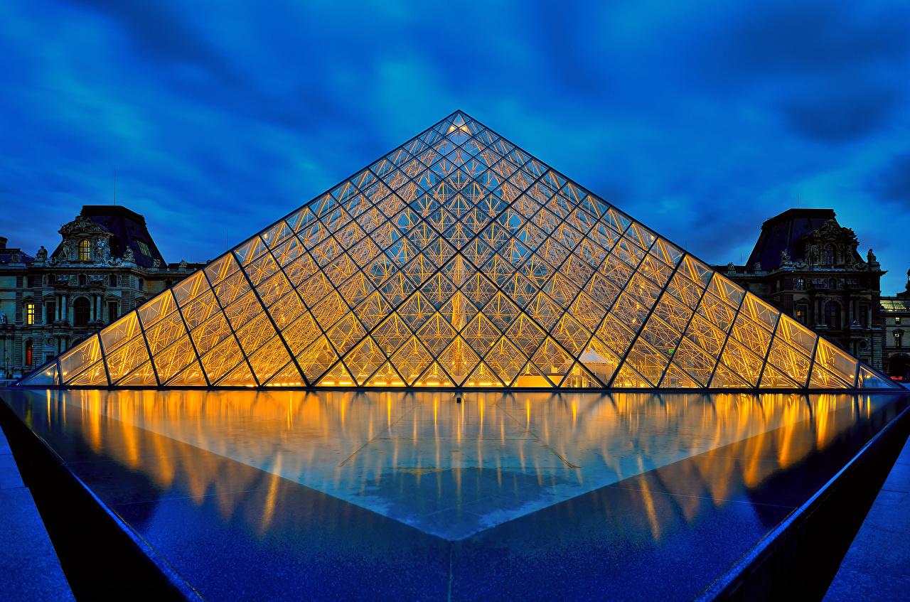 Обои для рабочего стола париже Франция The Louvre Ночь город Париж ночью в ночи Ночные Города