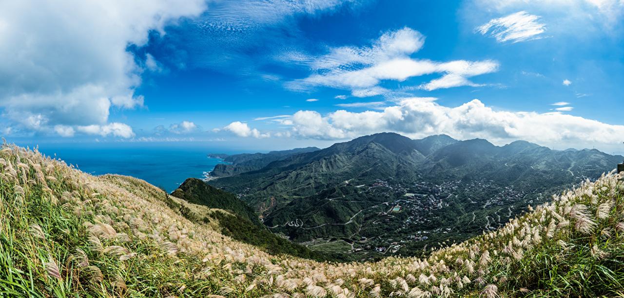 Фотографии Тайвань Keelung Mountain Долина гора Природа Небо берег облачно Горы Побережье Облака облако