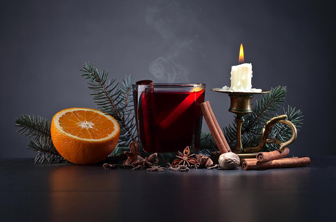 Картинки Рождество Апельсин Бадьян звезда аниса Корица стакана Еда ветвь Свечи Напитки Новый год Стакан стакане Пища Ветки ветка на ветке Продукты питания напиток