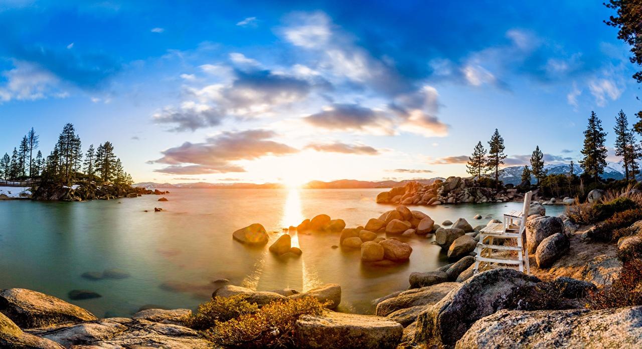 Фотографии США Lake Tahoe Природа Озеро Рассветы и закаты Камень Скамейка Облака дерево штаты америка рассвет и закат Камни Скамья облако дерева Деревья облачно деревьев