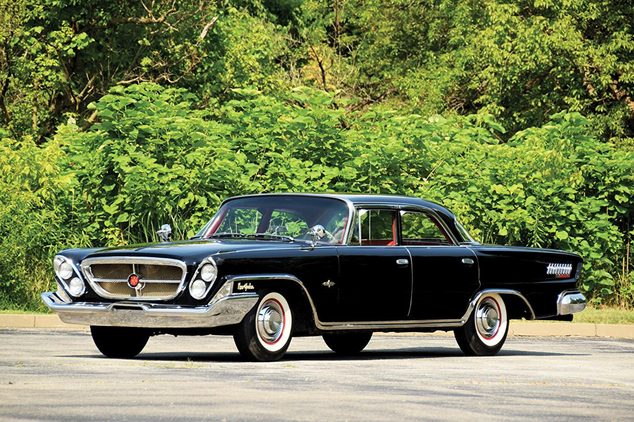 Картинка Chrysler 1962 New Yorker Sedan Седан Ретро черные машина Крайслер черных Черный черная Винтаж старинные авто машины автомобиль Автомобили