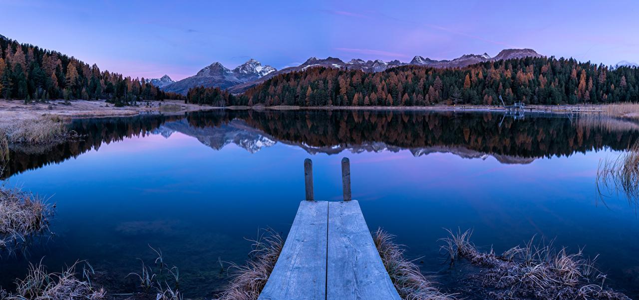 Фотография Природа Панорама Швейцария Альпы Lake of Staz Горы Иней осенние Утро Озеро Причалы панорамная альп гора Осень Пирсы Пристань