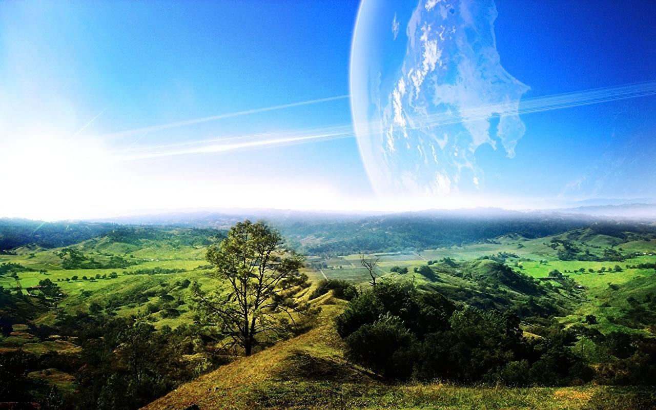 Фото планета Природа Фэнтези Пейзаж горизонта Планеты Фантастика Горизонт