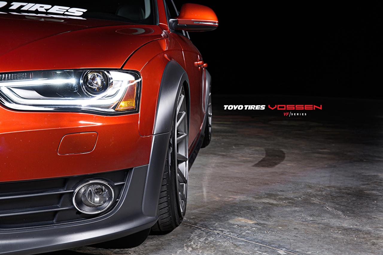 Картинка Audi Vossen Красный Фары авто Спереди Ауди красная красные красных фар машины машина Автомобили автомобиль
